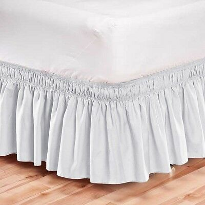 Elastic Bed Skirt Dust Ruffle Easy Fit Wrap Around White Color Full Size