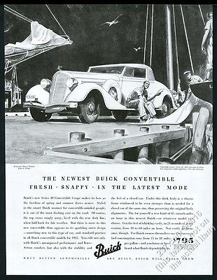 1935 Buick convertible coupe series 40 car sailboat yacht dock vintage print ad