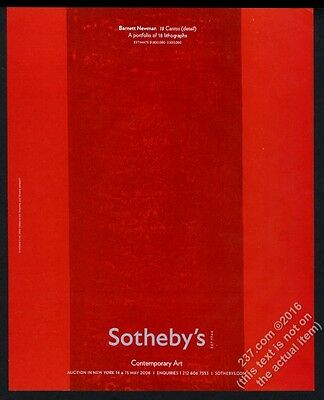 2008 Barnett Newman red Cantos art Sotheby's vintage print ad