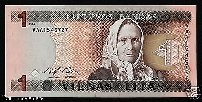 LITHUANIA (P53a) 1 Litas 1994 UNC First serial # prefix AAA