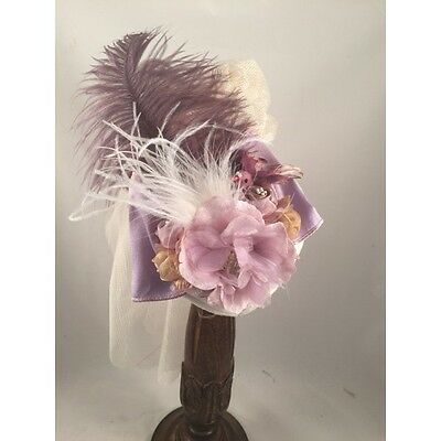 ELSIE MASSEY Victorian French Lavender Small Form Hat Steampunk Dickens