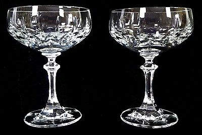 VINTAGE Cut Crystal PAIR Champagne/Sorbet/Shrimp Cocktail Coupe w/Hexagon Stems