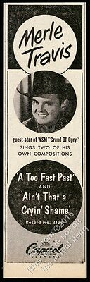 1952 Merle Travis photo A Too Fast Past song release vintage trade print ad