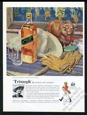 1960 Harold Von Schmidt photo and art Johnnie Walker Scotch whisky print ad