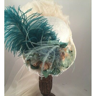 ELSIE MASSEY Victorian French Green / Ivory Small French Hat Steampunk Dickens