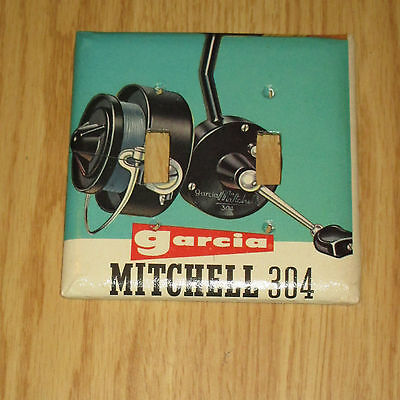MITCHELL 304 GARCIA FISHING REEL vintage artwork 2 HOLE LIGHT SWITCH COVER PLATE