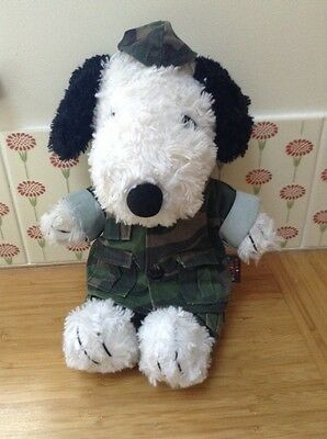 VINTAGE RETRO SNOOPY PEANUTS SOFT TOY TEDDY BEAR CAMOUFLAGE OUTFIT 30cm