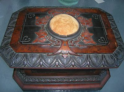 Antique Birds Eye Maple Magnificent Victorian Carved Sewing Box