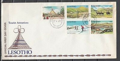 / Lesotho, Scott cat. 86-89. Tourism issue on a First day cover. Skiing shown.