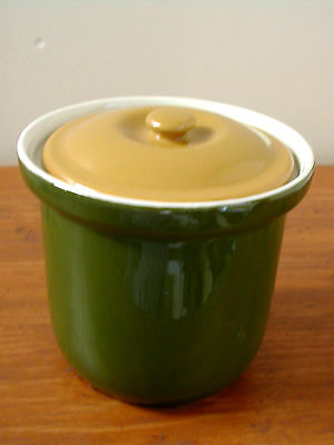 Small Vintage HALL Ceramic CANISTER Two Tone Retro Olive Green & Mustard Brown