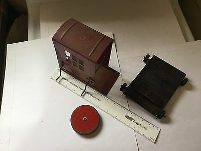 VINTAGE 1940s AUSTRALIAN STEEL MERRY TOY CRANE or SHOVEL CAB & BASE. PARTS ONLY!