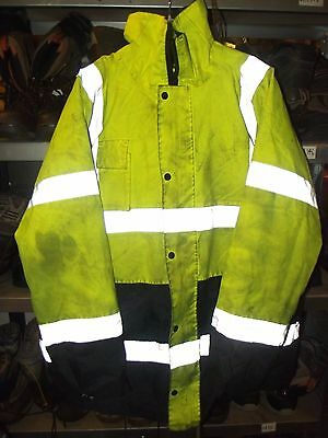 Used Mens Yellow 2-Tone Hi Vis Jacket ~ Sz Xl (Obvious Signs Of Wear/ Use)