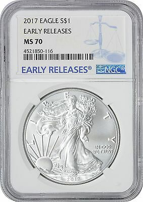 2017 American Silver Eagle Dollar Early Releases MS70 NGC