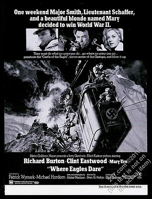 1969 Where Eagles Dare movie release Clint Eastwood Richard Burton print ad