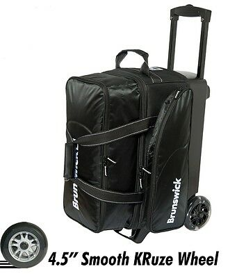 Brunswick Flash C 2 Ball Roller Bowling Bag with URETHANE WHEELS Color Black