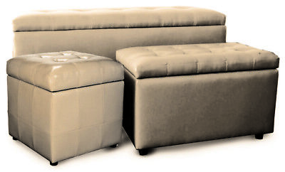 set 3 Pz pouffe Kubo cream armchair pouf eco-leather puf container in PU