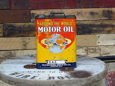 Around The World Motor Oil 2 gallon can cool car graphics Vintage Enarco Can