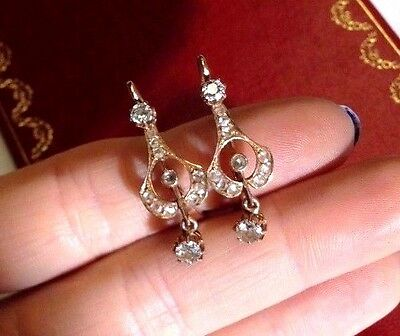 Antique Victorian 14K Rose Gold and Diamond Dangle Drop Leverback Earrings