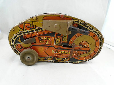 Vintage Marx Tin Windup Turnover Tank No 3 Great Litho Military Toy Wood Wheels