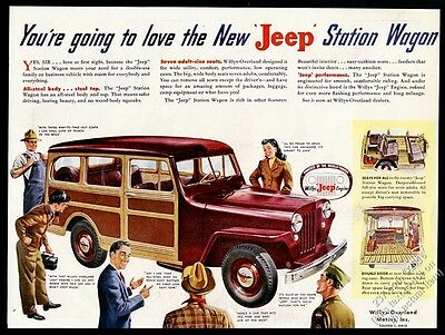 1946 Willys Jeep Station Wagon SUV smiling people art vintage print ad