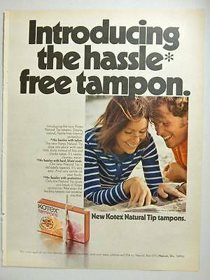 Kotex Natural Tip Tampons - Vintage Magazine Ad Page - 1975 - Cute Couple