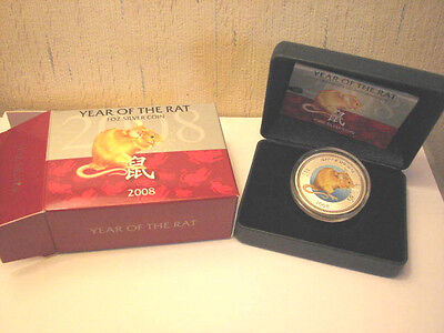 2008 Year Of The Rat 1oz Silver Pitcairn Islands  Lunar Coin New Zealand Mint