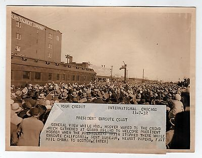 1932 PRESIDENT HERBERT HOOVER Press Photograph PHOTO Grand Island Nebraska NE