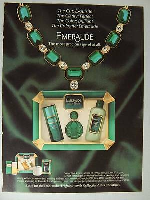 Emeraude by Coty Cologne Magazine Ad 1991 Christmas - Fragrant Jewel Collection