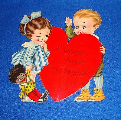 Vintage Valentine Card with  Black Americana Toy Doll