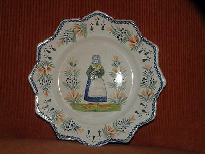 Vintage Quimper Pottery French Faience Scalloped Rim Plate