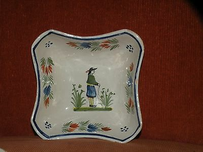 "Vintage Henriot Quimper Pottery French Faience Square Vegetable Bowl 6 1/2"" Dia"