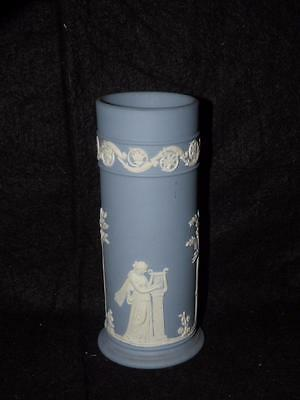 Vintage Wedgwood Blue Jasperware Column Vase 625 Tall 3999