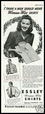 1941 vintage ad for Essley Woman Wise Men's Shirts