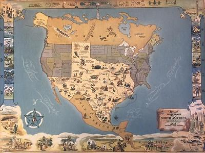Texas Brags Pictorial Map of North America Reproduction-Historical United States