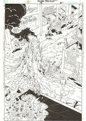 Young Justice #14 p.5 - Town Being Destroyed Splash - 2012 by Christopher Jones