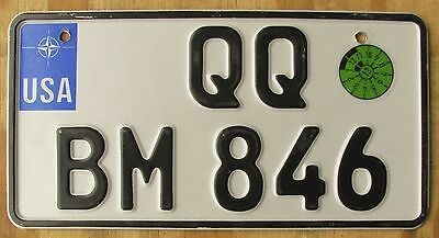 US FORCES - GERMANY license plate  2012  QQ BM 846