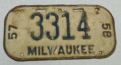 1957/58 Milwaukee Wisconsin bicycle license plate