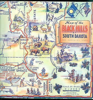 1940 Great Cartograph Fun Map Black Hills Of South Dakota