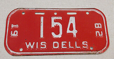 1982 Wisconsin Dells Wisconsin bicycle license plate