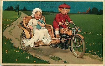 PFB Embossed Postcard Kids on Motorcycle w/ Whicker Sidecar & Baby Doll