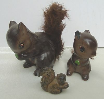 Vintage Pottery Ceramic 3 Squirrel Figurines Faux Furry Tail