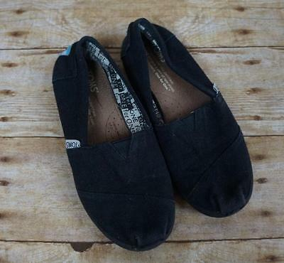 Youth TOMS Black Canvas Classic Slip On Shoes Size 1