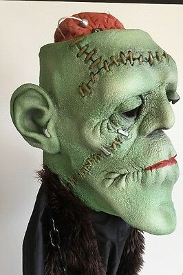 Vtg Frankenstein Mask by Mario Chiodo Realistic Thick Material w/exposed Brain
