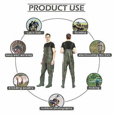 Camo PVC Fishing Chest Waders Sizes 9-11 Waterproof Fly Coarse Fishing