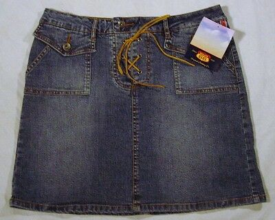 ROUTE 66 Denim Jean SKIRT Blue Leather Lacing  ** STRETCH **  SIZE 8 NWT