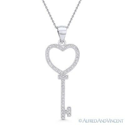 Heart Love Charm Bow CZ Skeleton Key Pendant & Necklace in .925 Sterling Silver