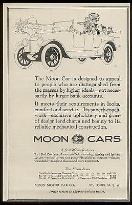1917 Moon Motor Car open touring car vintage print ad 1