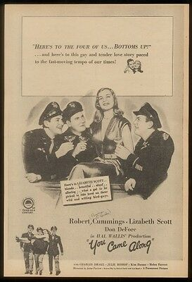 1945 Lizabeth Scott photo You Came Along movie release vintage trade ad
