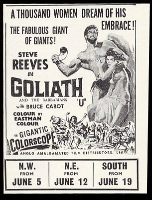 1960 Goliath and the Barbarians movie Steve Reeves pic vintage print ad