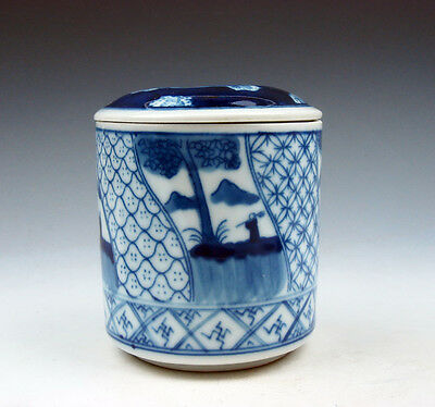 Blue&White Porcelain Figurines Various Patterns Painted Tea Caddy Jar #07211605
